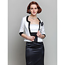 Women's Wrap Coats/Jackets 3/4-Length Sleeve Satin Multi-color Wedding / Party/Evening Wide collar Flower(s) Open Front