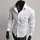 男性用 カジュアル シャツ,長袖 コットン混 ブラック / ホワイト