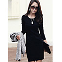 Qianxunyi Round Collar Long Sleeve Hip Pack Slimming haljina (crna)