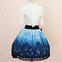 スカート ゴスロリータ プリンセス コスプレ ロリータドレス ブルー プリント ロリータ ミドル丈 スカート のために 女性 ポリエステル