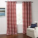 Moderna dvije ploče Pokrivač / check crvena spavaća pamučne zavjese panel zavjese