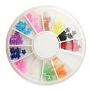 12カラープラムブロッサムスタイルアートラインストーンの装飾ネイル