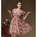 Moda Ispis V Neck šifon haljina