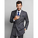 Obleky Standard Špičaté Jednořadové se dvěma knoflíky Polyester 2 ks Šedá Rovné s klopou Žádný (rovné nohavice) Žádný (rovné nohavice)