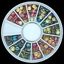 180pcs混合色とサイズ3Dロックラウンド金属スタッドホイールネイルアートの装飾