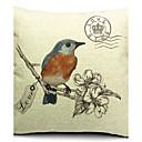 Zemlja ptice i cvijeće pamuka / lana ukrasne jastuk pokriti