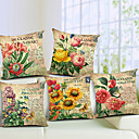 sada 5 země kvetoucí květiny bavlna / len dekorativní polštář