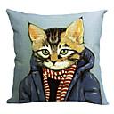 Moderní Cool Cat bavlna / len dekorativní polštář