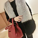 Women's Elegant Faux Fur Pure Color V Neck Sleevless Fitted Vest