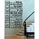 jiubai® dům pravidlo pokoj dekorace na stěnu Samolepka Lepicí obraz na stěnu