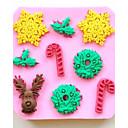Božićni jelen pahuljica štaka Fondant kolač od čokolade silikona torta dekoracija alati, l9.7 * w9.7 * h1cm