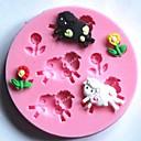 ovce a květiny fondán dort Silikonová forma dort dekorace nástroje, l7.7cm * w7.7cm * h1cm