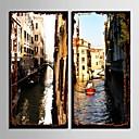 e-HOME® plátně umění města kanál dekorativní malba set 2