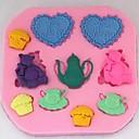 mláďata milují přípravu čaje fondant dort čokoládový silikonová forma cupcake dort výzdoba nástroje, l8.1cm * w7.9cm * h0.9cm