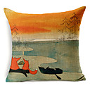 カントリースタイルのキツネのパターンコットン/リネン装飾的な枕カバー