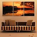 e-HOME® plátně umění soumrak jezero dekorace malování set of 3