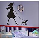 nástěnné nálepky na stěnu, moderní holčička procházky se psem z PVC samolepky na zeď