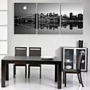 E-home® pruži platnu umjetnosti grada Noćne scene ukras slikanje set od 3