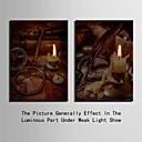 e-HOME® protáhl vedené na plátně umění svíčka blesk efekt LED bliká optické vlákno tiskovou sadu 2