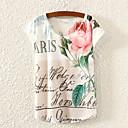 婦人向け カジュアル/普段着 夏 Tシャツ,シンプル ラウンドネック プリント マルチカラー ポリエステル 半袖 薄手