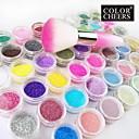 48-color Glitter Powder Nail Art ukrasi s Nail Art raspoznavanje Brush