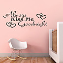 いつも私おやすみ引用符zy8053 adesivoデparedeビニールの壁のステッカーの家の装飾の壁画芸術にキス