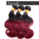 3 ks / hodně tmavě červená ombre hair tělo vlna velkoobchod brazilské vlasy, nezpracované a měkké vlasy vlnité brazilský ombre vlasy