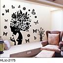 klasični crni cvijet vila zidne naljepnice za djevojčice sobe zooyoo2175 Parede prijenosnih PVC zid decal