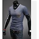 Obično Muška Majica s rukavima Ležerne prilike / Sport,Mješavina pamuka Kratkih rukava-Crna / Bijela / Siva