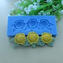葉のパターン形状のフォンダンケーキチョコレートシリコーン型の装飾ツールで花をバラ