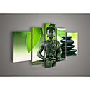 手描きの壁の芸術の宗教仏油絵キャンバス緑の5pcsの/何のフレームを設定していません