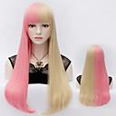Harajuku módní dva tón syntetické paruky růžový mix blond rovné vlasy plné paruka