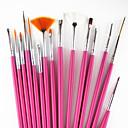 15ks růžová rukojeti nail art designu malba kresba perem kartáčů&5ks 2-way tečkování marbleizing nástroje pero