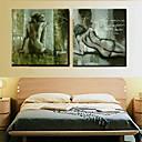 olejomalba dekorace abstraktní akty ručně malovaná plátna s protáhl zarámovanou - sada 2