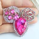 2.36 palců silver-tone růžový kamínky crystal květ brož přívěsek umělecké dekorace