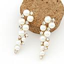 イヤリング ドロップイヤリング ジュエリー 2 個 合金 / 人造真珠 / ラインストーン 女性 ゴールデン / ホワイト