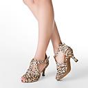 Na zakázku - Dámské - Taneční boty - Latina / Taneční sál - Satén - Podpatek na míru - Levhart