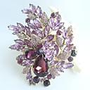 nádherný 4,33 palce zlato-tón fialový drahokamu křišťálově květina brož art deco brož kytice