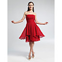 Knee-length Chiffon Bridesmaid Dress A-line / Princess Strapless Plus Size / Petite with Draping / Ruching