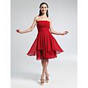 Lanting Bride Knee-length Chiffon Bridesmaid Dress A-line / Princess Strapless Plus Size / Petite with Draping / Ruching