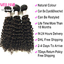 "4Pcs Lot 8""-30"" Peruvian Virgin Hair Deep Wave Natural Black Curly Human Hair Weave Bundles Shed & Tangle Free"