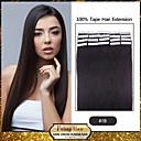 20ks 1,5 až 2 gramů / ks 16-24inch brazilský panna páska rozšíření lidské vlasy # 1b páska v lidských prodlužování vlasů 005