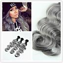 """3ks / lot 10 """"-34"""", brazilští tělo wave ombre šedé vlasy tkaní 1b / šedá brazilští panenské lidských prodlužování vlasů"""