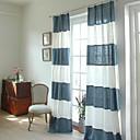 dva panely moderní středozemí patchwork pruhem modro-bílé prádlo bavlněné prolnutí záclony