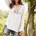 Women's V-Neck Lace T-Shirts , Cotton Sexy/Casual Long Sleeve Zhuoxini