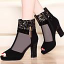 Ženske cipele-Sandale-Vjenčanje / Formalne prilike / Zabava i večer-Umjetna koža-Stožasta potpetica-Štikle-Crna / Nautičko plava