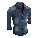 Muži Barevné bloky Běžné/Denní Jednoduché Košile-Jaro / Podzim Polyester Košilový límec Dlouhý rukáv Modrá Střední