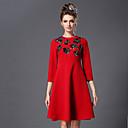 aofuli plus size žene haljina 2016 proljeće perla vintage mode elegantan tanak 3/4 rukava haljina zeleno / crveno