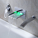 Současné Nástěnná montáž LED / Vodopád with  Keramický ventil Single Handle tři otvory for  Pochromovaný , Vanová baterie / Koupelna