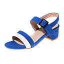 Women's Shoes Leatherette Chunky Heel Heels Sandals Wedding / Party & Evening / Casual Black / Blue / Green